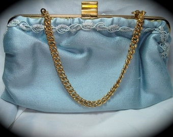 1970s Pale Blue Purse Clutch Combination Bag.