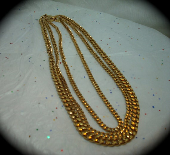 1990s MONET Triple Strand Heavy Gold tone Chain Necklace.