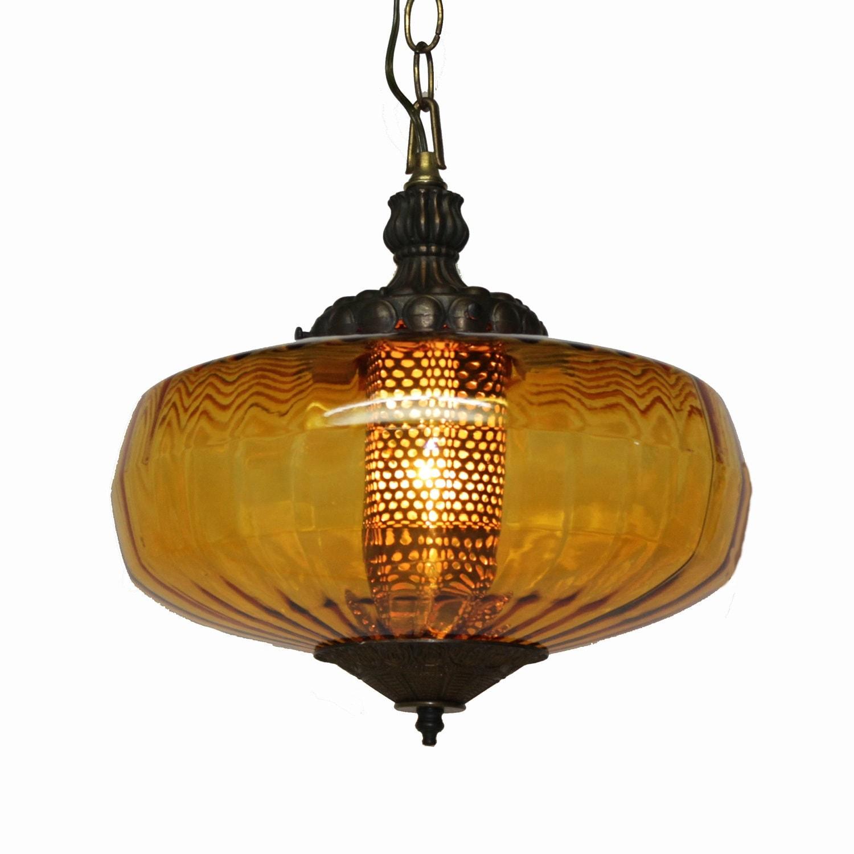 Mid Century Swag Lamp: Mid-Century Amber Swag Lamp . Italian Empoli Glass . 12 Inch