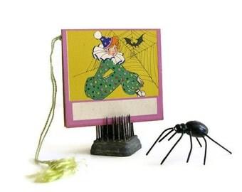 Vintage Halloween Bridge Tally Bat Spiderweb Art Deco Flapper Girl Clown