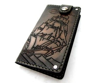 Mens Leather Wallet Clipper Ship Nautical Black and Grey Handmade Mens Wallet Unique Wallet Custom Wallet 3rd Anniversary Pirate Ship