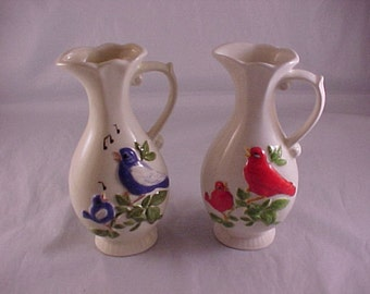 2 Unmarked Ceramic Bird Vases
