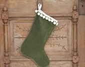Stocking, Green with Tea-Stained Pom Pom Fringe