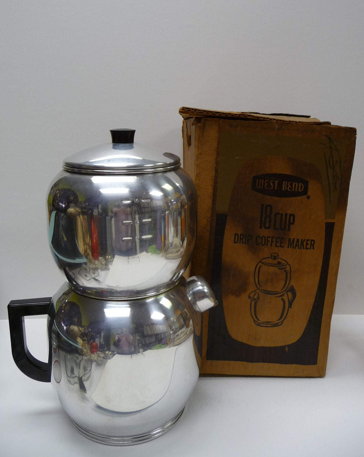 Vintage Drip Coffee Maker West Bend in Box 18 cup Aluminum