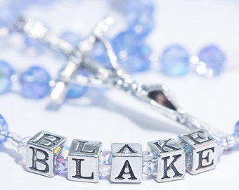 Personalized Rosary with Name in March Birthstone