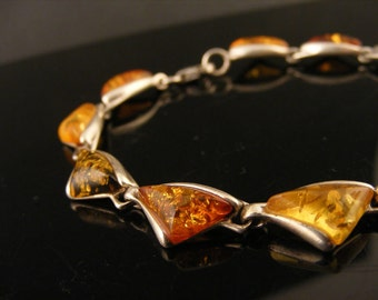 Vintage Bracelet Faux Amber Triangles Orange Gold Topaz Olive Green Geometric Lucite Art Deco