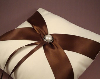 Fifth Avenue Ring Bearer Pillow - Choose Your Colors. Shown in Ivory and Brown.