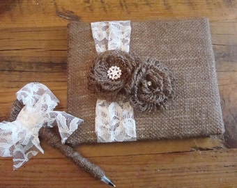 Rustic Burlap and Lace Wedding Guest Book and Pen Set.
