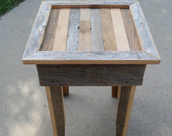 Grey Scrap End Table