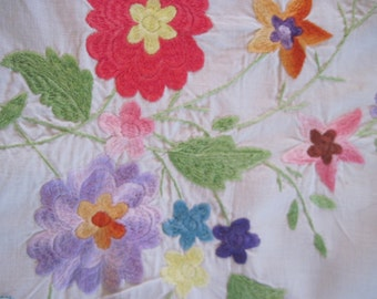 vintage White Cotton Tablecloth Runner - Dresser Scarf - with Bright and Colorful MADEIRA Embroidered Flowers and Wedgwood Blue Appliques
