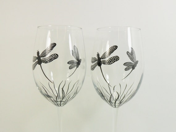 Dragonfly Wine Glasses Hand Painted Set of 2