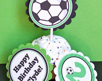 Soccer Cupcake Toppers, Soccer Birthday Party, Fully Assembled and Personalized