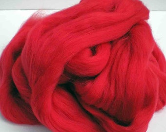 "Ashland Bay Solid Colored Merino for Spinning or Felting ""Red""  4 oz."