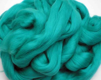 "Ashland Bay Solid Colored Merino for Spinning or Felting ""Jade""  4 oz."