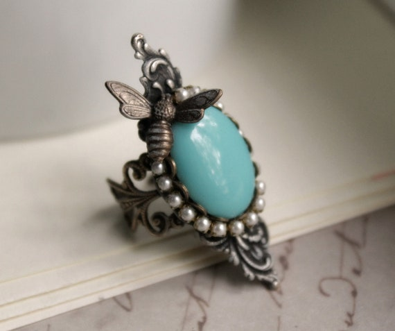 September Aged Silver & Brass and Czech Galss Ring - Turquoise - Blue - Victorian - Shabby Chic - Nature - Fall - Bridal