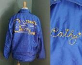 10 DOLLAR Sale Vintage TRAVEL CLUB Monogrammed Jacket - Embroidered Cathy - Women L
