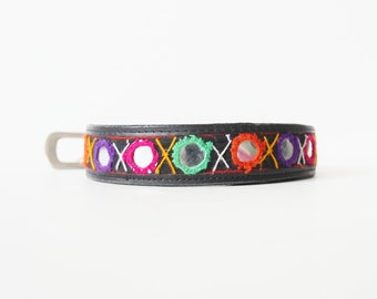 Vintage 90s MIRROR Leather Belt - Women XL - Boho Ethnic