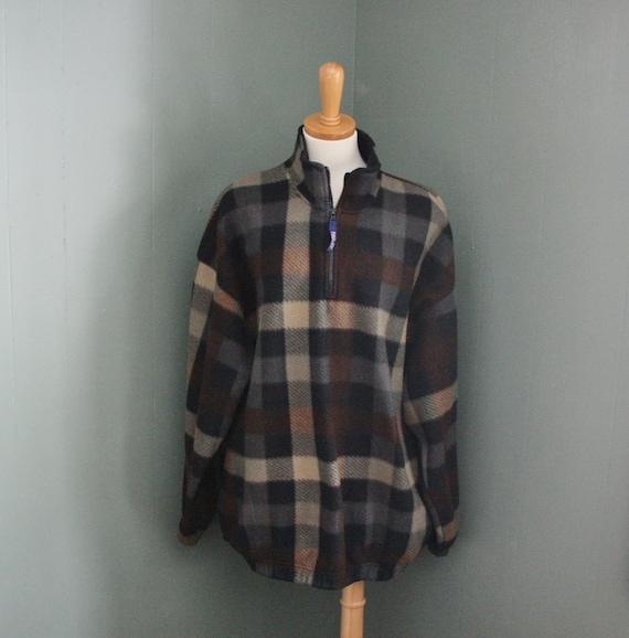 Vintage 80s Buffalo Plaid Fleece Jacket - Bugle Boy Early 90s - Men XL