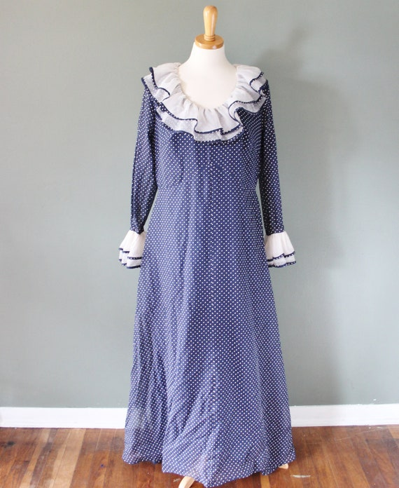 Vintage 70s LUCILLE BALL Clown Ruffle Dress - Women L - Navy Blue with White Dots - Roamans