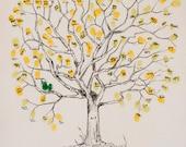 Fingerprint Tree Wedding Guest Book Alternative, Original Hand-drawn Medium Great Oak Design (ink pads sold separately)