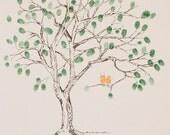 Fingerprint Tree Wedding Guest Book Alternative, Original Hand-drawn Large Cherry Blossom Design (ink pads sold separately)