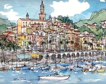 Menton France art print from original watercolor painting