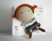 Lola swings, knitting canvas -kids wall decor - Children's Wall Art - Children's Art - Nursery Decor - Paris