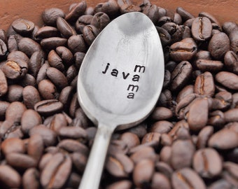 Java Mama -Scrabble inspired Hand Stamped Vintage Coffee Spoon for COFFEE Lovers- by jessicaNdesigns