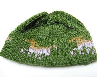 Knitted Beanie for Him or Her, Running Horses, Equestrian Young Adult