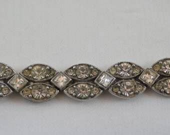 Vintage Art Deco Clear Glass Rhinestone Bracelet  .....1470