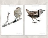 bird silhouette in gray brown, 5x7 print set, digital silhouette art, set of 2, taupe, woodland nursery, sparrow, whimsical animal art