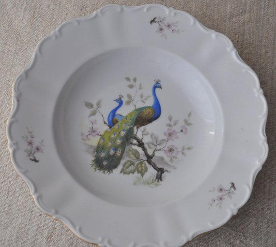 Seltmann Weiden Scalloped Dish with Peacocks