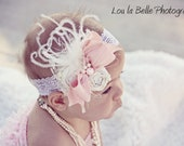 Pink Petite Clippie or Stretch Lace Headband