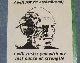 Back Patch -  Picard Borg, I Will Not Be Assimilated, LARGE - Black Ink - star trek punk patch, captain, locutus, next generation, canvas