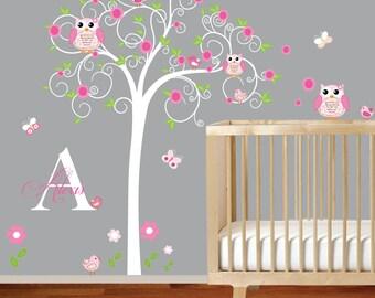 Children Wall Decal Girls Nursery Vinyl Wall Stickers Flowers Owls Curl Tree Butterflies Custom Monogram