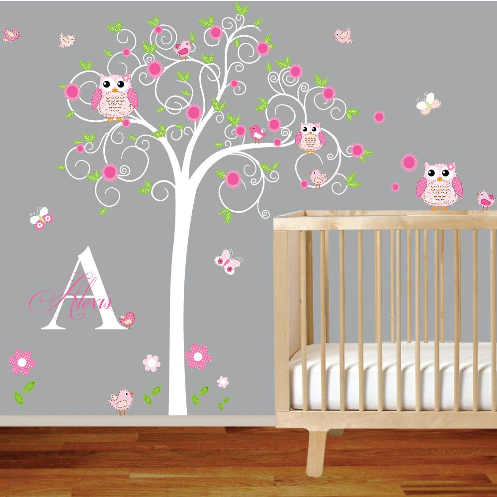 children wall decal girls nursery vinyl wall stickers flowers. Black Bedroom Furniture Sets. Home Design Ideas