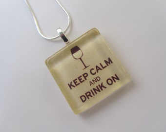 Got Wine Glass Pendant Necklace with Silver Chain Necklace