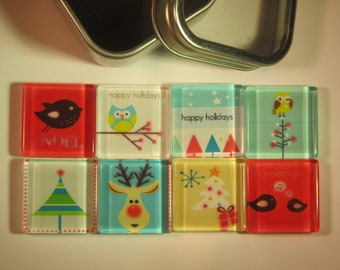 Christmas Decorations Fridge Magnets, Set of 8 Retro Mod Christmas Refrigerator Magnets with Storage Tin
