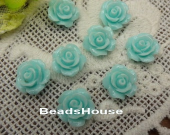 157-00-CA 10pcs (10mm) Beautiful Roses Cabochon- Blue Light