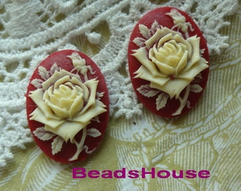 90-00-CA  4pcs (18 X 25mm) Pretty Oval Rose Cameo - Ivory on Red