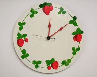Strawberry Wall Clock Recycled Record