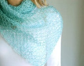 Mohair wool knitted wide scarf in aquamarine blue - luxury light cozy fluffy warm - gifts for her under 50