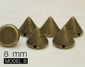 100pcs 8mm antique BRASS Acrylic Cone Spikes Beads Charms Pendants with hole