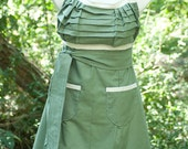 Ruffled Olive and Cream Emmeline Reversible Apron- RESERVED for AARON BRUNNER