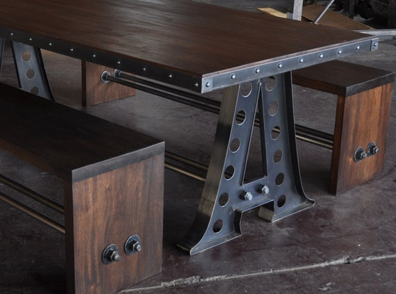 Hure Table Base Vintage Industrial A Frame Dining Table/Mahogany Benches/Restaurant ...