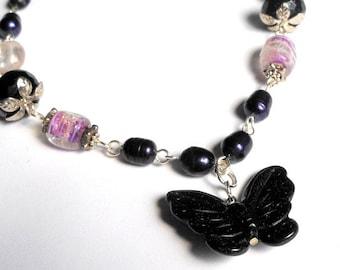 Purple Butterfly Necklace,Freshwater Pearl Jewelry,Purple Goldstone Jewelry