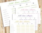 Bridal Shower Scattergories -- DIY Printable Game Cards