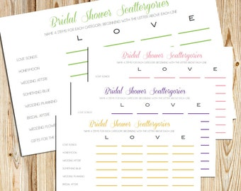 Bridal Shower Scattergories -- DIY Printable Game Cards