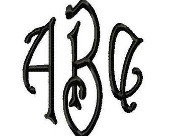 3 Initial Monogram no.1 - Machine Embroidery Designs