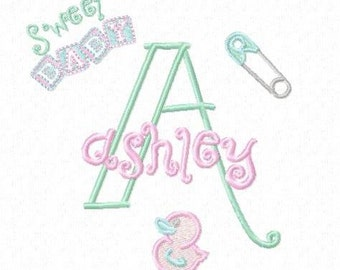Sweet Baby Monogram Font Alphabet - Machine Embroidery Designs